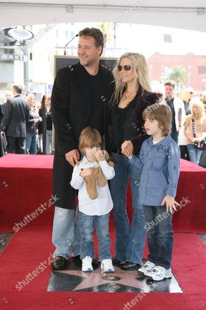 Stock Picture of Russell Crowe, Danielle Spencer, Tennyson Crowe and Charlie Crowe