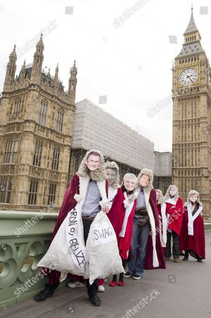 Democracy activists dressed as Lords.