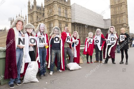 Stock Image of Democracy activists dressed as Lords.