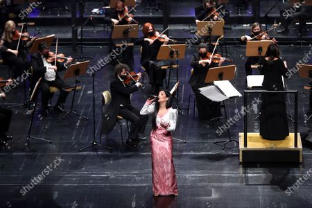 Stock Image of Portuguese fado singer Ana Moura performs during a concert in honor of Portuguese Fado legend Amalia Rodrigues, that marks the opening of the Portuguese Presidency of the Council of the European Union in Lisbon, Portugal, 05 January 2021. Portugal has assumed to the rotating presidency of the European Council for the first half of 2021.
