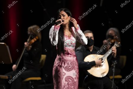 Fado singer Ana Moura performs during a concert in honor of Portuguese Fado legend Amalia Rodrigues, that marks the opening of the Portuguese Presidency of the Council of the European Union in Lisbon, Portugal, 05 January 2021. Portugal has assumed to the rotating presidency of the European Council for the first half of 2021.
