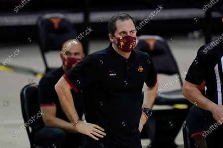 Iowa State head coach Steve Prohm watches from the bench during the first half of an NCAA college basketball game against Texas, in Austin, Texas