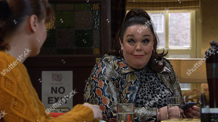Stock Image of Emmerdale - Ep 8943 Thursday 14th January 2021 - 2nd Ep Mandy Dingle's, as played by Lisa Riley, struck by an idea after listening to stories of Paddy and Chas's honeymoon.