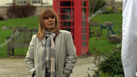 Emmerdale - Ep 8940 Tuesday 12th January 2021 Rhona Goskirk's, as played by Zoe Henry, pleased when Marlon Dingle suggests an afternoon tea date in Hotten, but their plans are scuppered and Marlon hopes he's not blown it.
