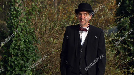 Emmerdale - Ep 8941 Wednesday 13th January 2021 Marlon Dingle, as played by Mark Charnock, makes a special fancy dress effort to meet Rhona Goskirk when he dresses as Stan Laurel in a nod to the black and white movie nights they used to share with one another. Will his stunt pay off?