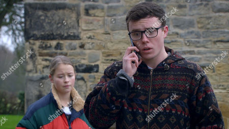 Emmerdale - Ep 8947 Wednesday 20th January 2021 Mandy Dingle and Vinny Dingle, as played by Bradley Johnson, mull over Paul's betrayal, kicking themselves for trusting him again, when Vinny's phone rings. He's shocked to hear that Paul's been taken to A&E... Also pictured - Liv Flaherty, as played by Isobel Steele.