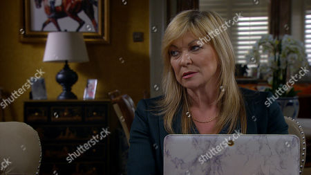 Emmerdale - Ep 8946 Tuesday 19th January 2021 Kim Tate, as played by Claire King, enlists Mack's help in stealing more cars from the garage. Mack questions her motives, and she confesses she's out to ruin Cain.