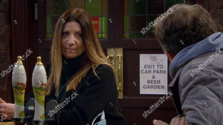Emmerdale - Ep 8946 Tuesday 19th January 2021 Dan Spencer, as played by Liam Fox, offers Harriet Finch, as played by Katherine Dow Blyton, the spare room at his.