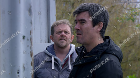 Emmerdale - Ep 8947 Wednesday 20th January 2021 Dan Spencer, as played by Liam Fox, and Cain Dingle, as played by Jeff Hordley, are stunned to find two more cars missing.