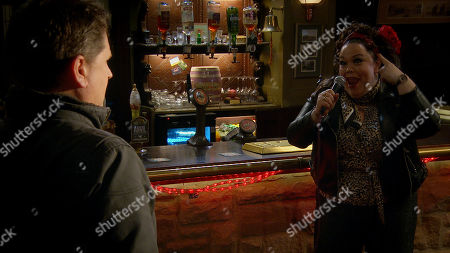 Stock Picture of Emmerdale - Ep 8945 Monday 18th January 2021 Vinny Dingle reminds Paul Ashdale, as played by Reece Dinsdale, if he doesn't tell Mandy about his gambling, he will be forced to but when they arrive at the pub, Mandy Dingle, as played by Lisa Riley, launches into a full-on musical proposal which leaves both Paul and Vinny stunned.