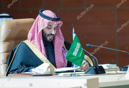 """Saudi Arabia's Crown Prince Mohammed bin Salman Al Saud attends the Gulf Cooperation Council Summit in Al-Ula, Saudi Arabia, on Jan. 5, 2021. Saudi Arabian Foreign Minister Prince Faisal bin Farhan on Tuesday hailed end of the Gulf crisis with Qatar as a """"new chapter"""" for the Gulf's security and stability. The Al-Ula Declaration signed on Tuesday at the Gulf Cooperation Council (GCC) summit, held in Al-Ula, ended the dispute of the Saudi-led Arab camp with Qatar, the Saudi top diplomat was quoted by Al Arabiya TV as saying."""