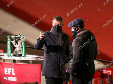 Roy Keane and Micah Richards before the start of the match