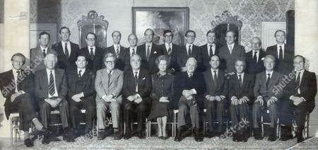 Conservative Party Pictured In 1983. Picture Shows The Cabinet At Downing Street. Back Row (l-r) John Wakeman (chief Whip) Michael Jopling (agriculture) Lord Cockfield (chancellor Of The Duchy Of Lancaster) Norman Tebbit (secretary For The State Of Employment) John Biffin (lord Privy Seal) Nicholas Edwards (sec. Of State Of Wales) Patrick Jenkins (sec. For The Environment) Norman Fowler (sec. Of State Of Social Services) Cecil Parkinson (sec. Of State For Trade And Industry) Tom King (sec. Of State For Transport) Peter Rees (chief Sec. To Treasury) Sir Robert Armstrong (sec. To The Cabinet). Front Row (l-r) Michael Heseltine (sec. Of State For Defence) James Prior (sec Of State For Northern Ireland) Nigel Lawson (chancellor Of The Exchequer) Geoffrey Howe (foreign Sec.) William Whitlaw (lord President Of The Council) Maragaret Thatcher (prime Minister) Lord Hailsham (the Lord Chancellor) Leon Brittan (home Secretary) Sir Keith Joseph (sec. Of State For Education And Science) Peter Walker (sec. State Of Energy) George Younger (sec. Of State For Scotland).