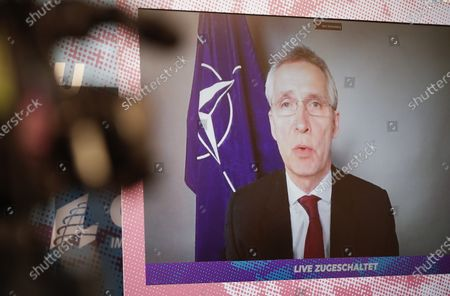 NATO General Secretary Jens Stoltenberg speaks (on screen) during the winter meeting of the CSU parliamentary group in the German Bundestag, which is exceptionally taking place in the capital due to the coronavirus pandemic.