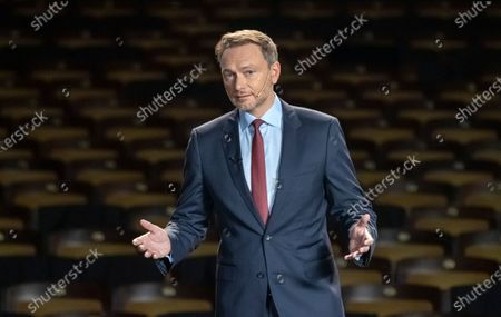 Leader of Free Democratic Party (FDP), Christian Lindner speaks on stage inside of the empty Opera during the traditional Epiphany meeting (Dreikoenigstreffen) in Stuttgart, Germany, 06 January 2021. Due to the ongoing Corona virus pandemic, viewers will only be able to watch the Epiphany meeting online via livestream. The federal elections will be held in Germany this year on 26 September.