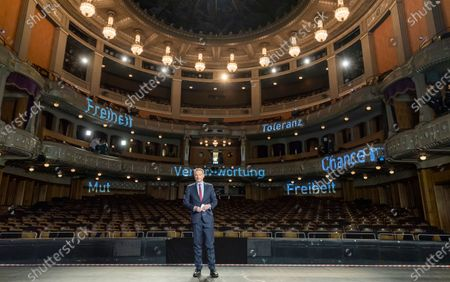Leader of Free Democratic Party (FDP), Christian Lindner stands on the stage inside of the empty Opera during the traditional Epiphany meeting (Dreikoenigstreffen) in Stuttgart, Germany, 06 January 2021. Due to the ongoing Corona virus pandemic, viewers will only be able to watch the Epiphany meeting online via livestream. The federal elections will be held in Germany this year on 26 September.