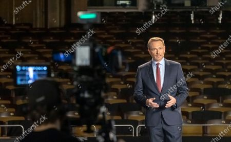 Leader of Free Democratic Party (FDP) Christian Lindner speaks on stage inside of the empty Opera during the traditional Epiphany meeting (Dreikoenigstreffen) in Stuttgart, Germany, 06 January 2021. Due to the ongoing Corona virus pandemic, viewers will only be able to watch the Epiphany meeting online via livestream. The federal elections will be held in Germany this year on 26 September.
