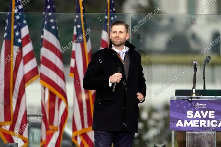 """Eric Trump speaks, in Washington, at a rally in support of President Donald Trump called the """"Save America Rally"""