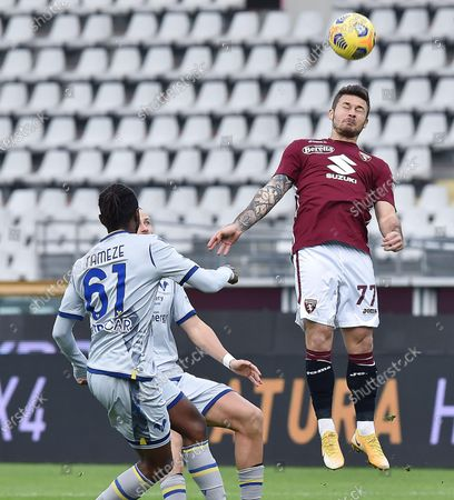 Torino's Karol Linetty in action during the Italian Serie A soccer match Torino FC vs Hellas Verona FC at the Olimpico Grande Torino Stadium in Turin, Italy, 06 January 2021.