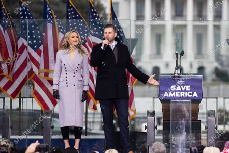 Son of US President Donald J. Trump, Eric Trump (R), and his wife Lara Trump (L) deliver remarks at a pro-Trump rally on the Ellipse near the White House in Washington, DC, USA, 06 January 2021. Right-wing conservative groups are protesting against Congress counting the electoral college votes. Dozens of state and federal judges have shot down challenges to the 2020 presidential election, finding the accusations of fraud to be without merit.