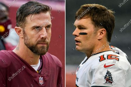 S showing Washington Football quarterback Alex Smith, left, and Tampa Bay Buccaneers quarterback Tom Brady, right. Washington and Tampa play in an NFL Wild Card game on