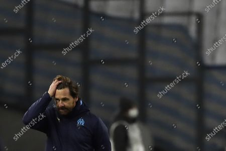 Marseille's head coach Andre Villas-Boas reacts during the French League One soccer match between Marseille and Montpellier at the Stade Velodrome in Marseille, southern France