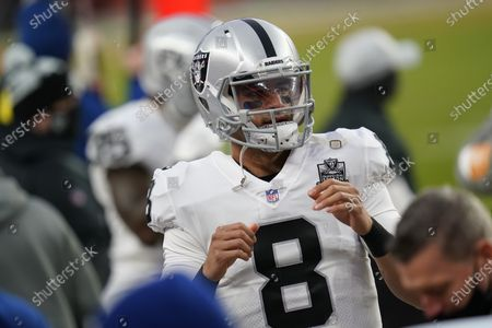 Stock Image of Las Vegas Raiders quarterback Marcus Mariota (8) in the first second half of an NFL football game, in Denver