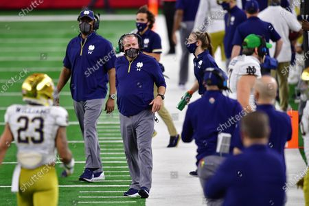 Stock Picture of Notre Dame Fighting Irish head coach Brian Kelly In a game between the Alabama Crimson Tide and the Notre Dame Fighting Irish of the CFP Semifinal Rose Bowl football game Presented by Capital One at AT&T Stadium in Arlington, Texas, st, 2021