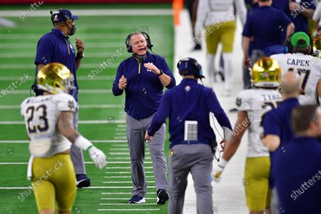 Notre Dame Fighting Irish head coach Brian Kelly In a game between the Alabama Crimson Tide and the Notre Dame Fighting Irish of the CFP Semifinal Rose Bowl football game Presented by Capital One at AT&T Stadium in Arlington, Texas, st, 2021