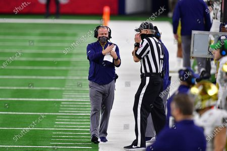 Stock Photo of Notre Dame Fighting Irish head coach Brian Kelly In a game between the Alabama Crimson Tide and the Notre Dame Fighting Irish of the CFP Semifinal Rose Bowl football game Presented by Capital One at AT&T Stadium in Arlington, Texas, st, 2021