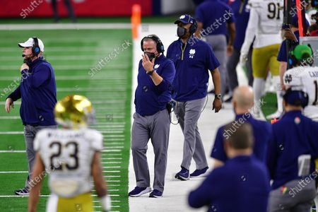 Stock Image of Notre Dame Fighting Irish head coach Brian Kelly In a game between the Alabama Crimson Tide and the Notre Dame Fighting Irish of the CFP Semifinal Rose Bowl football game Presented by Capital One at AT&T Stadium in Arlington, Texas, st, 2021