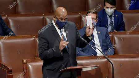 In this image from video, Rep. Dwight Evans, D-Pa., speaks as the House debates the objection to confirm the Electoral College vote from Pennsylvania, at the U.S. Capitol early