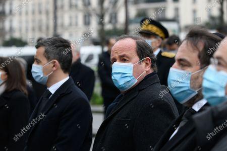 Stock Photo of French Interior Minister Gerald Darmanin, Francois Hollande and Joel Mergui