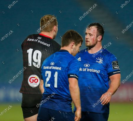 Ed Byrne of Leinster and Kieran Treadwell of Ulster shake hands at the full time whistle; RDS Arena, Dublin, Leinster, Ireland; Guinness Pro 14 Rugby, Leinster versus Ulster.