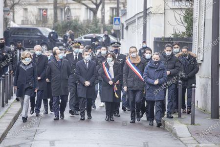Valerie Pecresse, Francois Hollande, Gerald Darmanin, Anne Hidalgo, Francois Vauglin and Emmanuel Gregoire