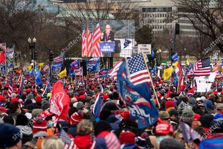 Stock Image of Former New York City Mayor Rudy Giuliani speaks during a Trump Rally in Washington, DC