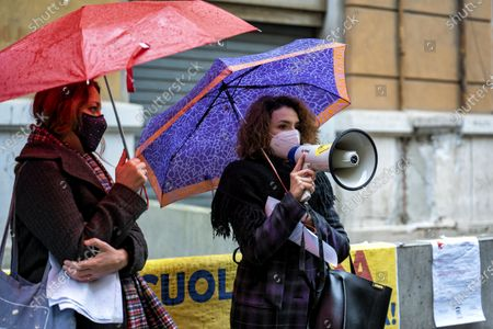 Editorial photo of The protest of the parents under Palazzo Santa Lucia, Napoli, Campania / Napoli, Italy - 07 Jan 2021