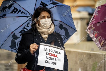 Editorial picture of The protest of the parents under Palazzo Santa Lucia, Napoli, Campania / Napoli, Italy - 07 Jan 2021