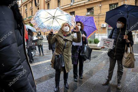 Editorial image of The protest of the parents under Palazzo Santa Lucia, Napoli, Campania / Napoli, Italy - 07 Jan 2021