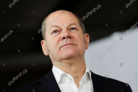 German Minister of Finance Olaf Scholz during a joint press statement at the German parliament Bundestag in Berlin, Germany, 08 January 2021. Leaders of SPD hold a digital closed meeting to discuss current issues of the party.