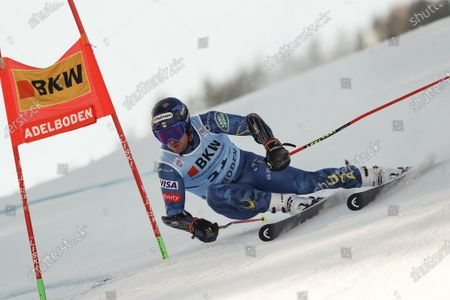 Stock Picture of United States' Ted Ligety speeds down the course during an alpine ski, men's World Cup giant slalom, in Adelboden, Switzerland, Friday, Jan.8, 2021