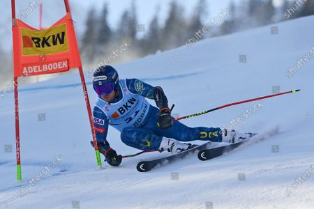 Ted Ligety of the United States in action during the first run of the men's giant slalom race at the Alpine Skiing FIS Ski World Cup event in Adelboden, Switzerland, 08 January 2021.