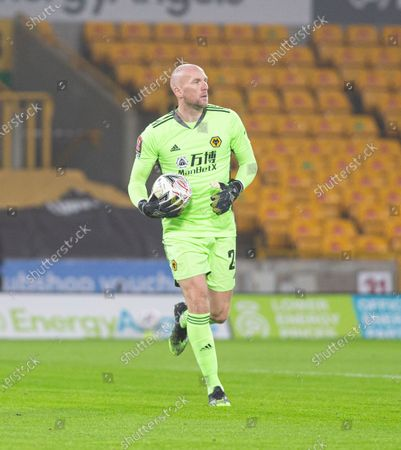 Wolverhampton Wanderers Goalkeeper John Ruddy running with the ball looks for an outlet in his defense; Molineux Stadium, Wolverhampton, West Midlands, England; English FA Cup Football, Wolverhampton Wanderers versus Crystal Palace.