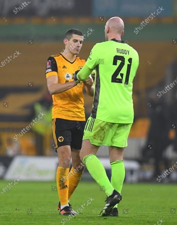 Conor Coady of Wolverhampton Wanderers and John Ruddy goalkeeper of Wolverhampton Wanderers celebrate at full time