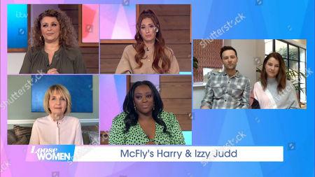Nadia Sawalha, Stacey Solomon, Kaye Adams, Judi Love, Harry Judd and Izzy Judd