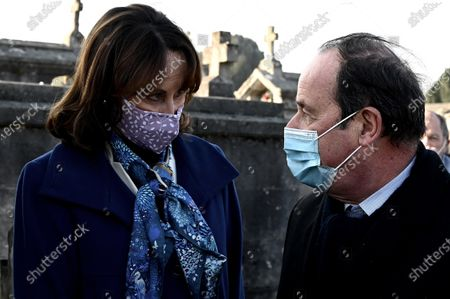 Former minister Segolene Royal and former French President Francois Hollande attend a tribute ceremony at the tomb of former President Francois Mitterrand to mark the 25th anniversary of his death, in the cemetery of Jarnac, western France
