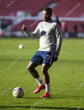 Leandro Bacuna of Cardiff City warming up before the match; City Ground, Nottinghamshire, Midlands, England; English FA Cup Football, Nottingham Forest versus Cardiff City.