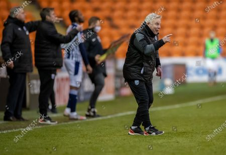 Sammy Lee gets on the pitch to make his point to his players; Bloomfield Road, Blackpool, Lancashire, England; English FA Cup Football, Blackpool versus West Bromwich Albion.