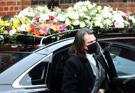 Stock Picture of Scott Mitchell, Barbara's husband.Dame Barbara Windsor's funeral at Golders Green Cemetery. She died on December 10th, aged 83, after a six year battle with Alzheimers.