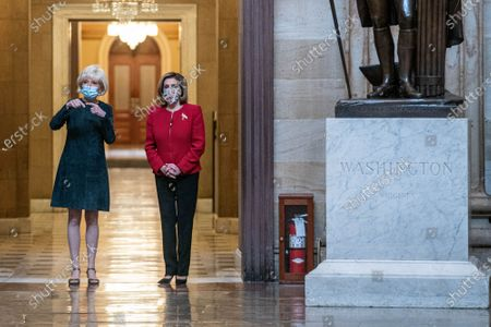 60 Minutes correspondent Lesley Stahl interviews Speaker of the House Nancy Pelosi, (D-CA)., in the Rotunda of the U.S. Capitol in Washington, DC. This would be Pelosi's last term as speaker after nearly two decades in power. Interview will air this coming Sunday.
